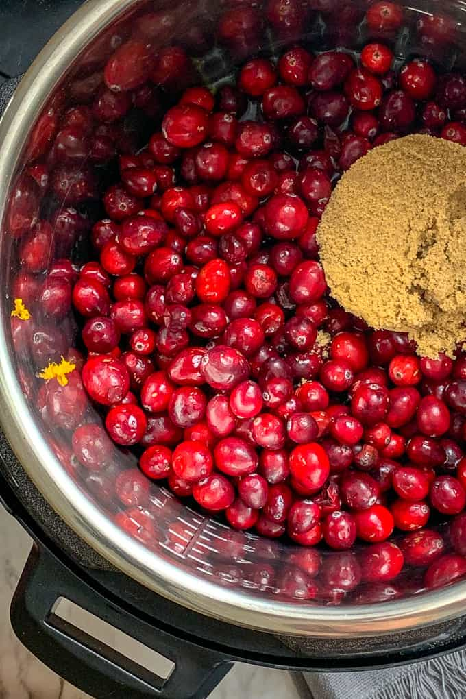 Brown sugar and cranberries for an Instant Pot cranberry sauce