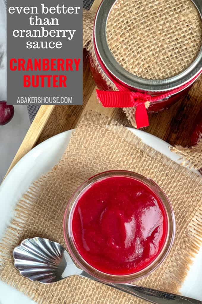 This cranberry butter jewel of a spread is not really a butter (no dairy at all). And it is not really a curd (no eggs in here either) so it is tricky to figure out how to name it properly. Technically it might be a pureed jam.  It is an elevated version of cranberry sauce with a richness and depth of texture and flavor. #abakershouse #cranberries #cranberrysauce #Thanksgiving #Christmas #recipes