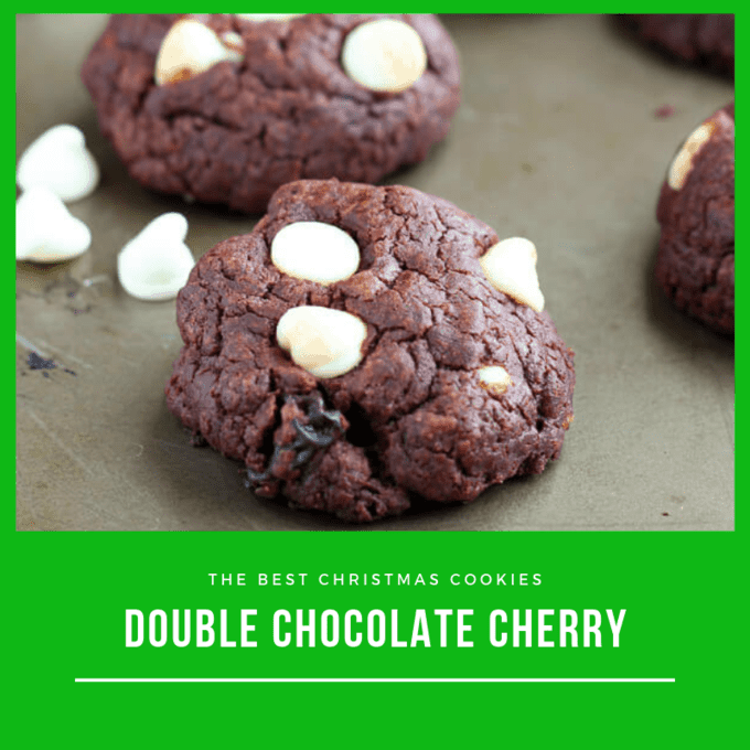 double chocolate cookies with dried cherries and white chocolate chips on a baking tray
