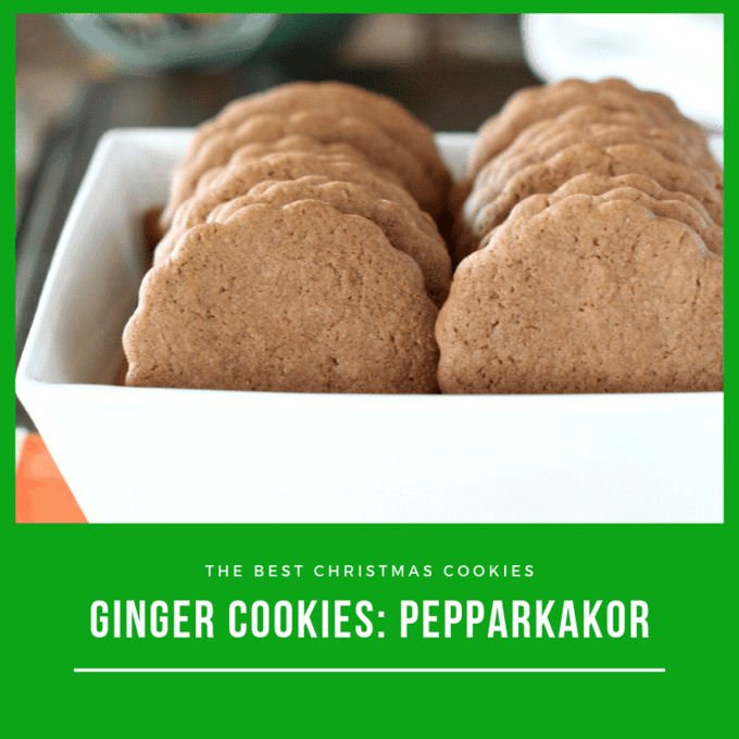 Pepparkakor or Swedish ginger cookies in a white square bowl