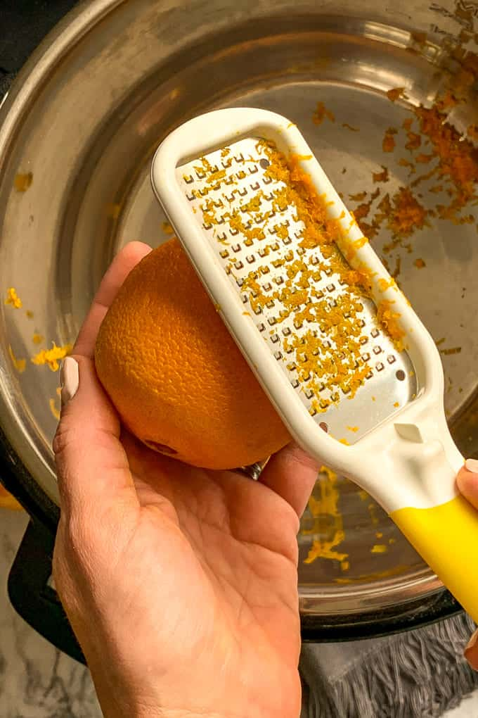 Zest oranges into Instant Pot