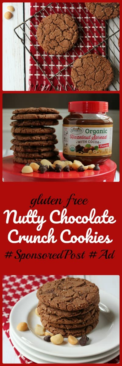 Gluten Free Nutty Chocolate Crunch Cookies make a beautiful gluten free cookie to share with chocolate lovers! #abakershouse #ad #sprouts #chocolaterecipe #glutenfreerecipe #christmascookies #glutenfreechristmascookie
