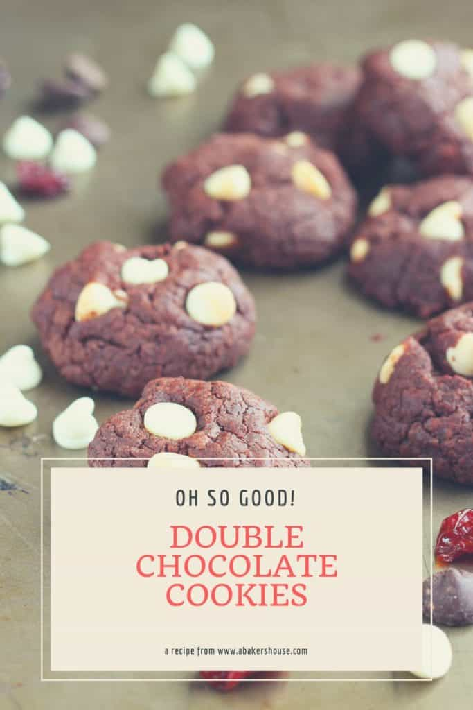 Double Chocolate Cookies with Dried Cherries on metal pan