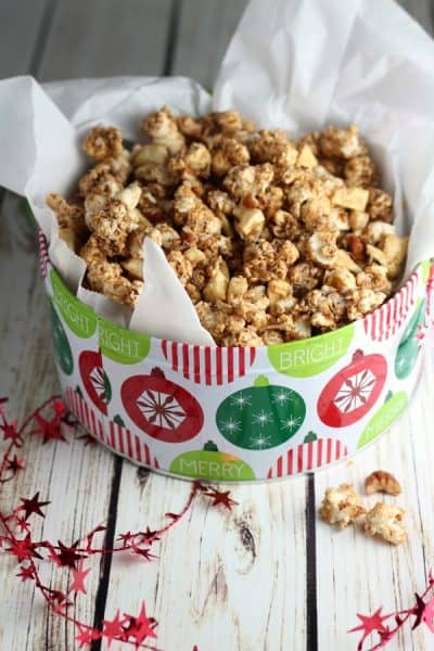 popcorn in a christmas tin