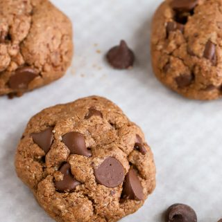 Nutella Chocolate Chip Cookies Gluten Free on a pan with white parchment background