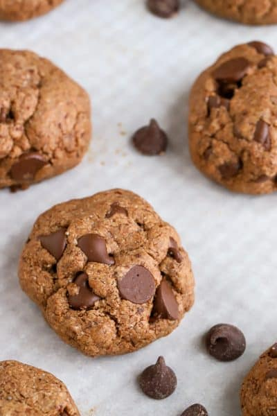 Nutella Chocolate Chip Cookies Gluten Free Cookies on a pan with white parchment background