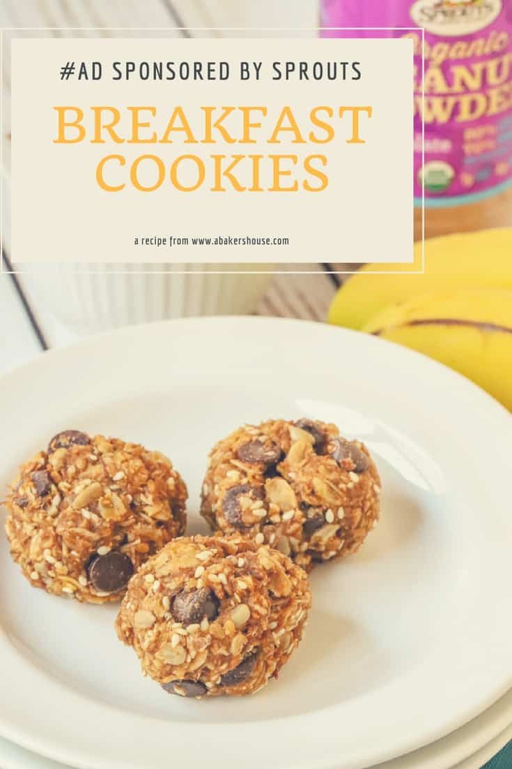 Start your day with these healthy cookies packed with granola, bananas, peanut powder and dates. #Sponsored by #Sprouts made by Holly Baker at www.abakershouse.com #AD #sprouts #abakershouse #cookiesforbreakfast #healthyrecipe