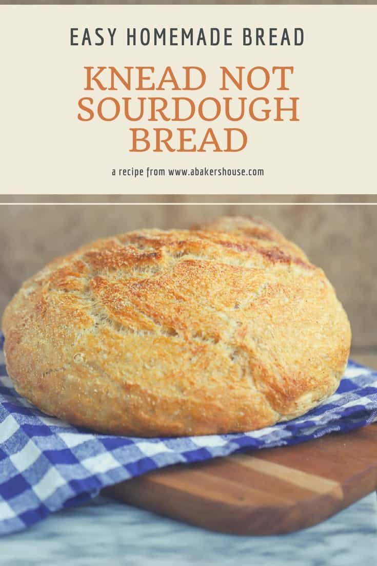 No fussing with kneading here with this Alton Brown recipe for Knead Not Sourdough Bread. Making homemade bread can be simple and accessible to even beginner bakers. Try this easy recipe for sourdough bread for baking success! #sourdough #homemade #bread #recipe #dutchoven #altonbrown #abakershouse