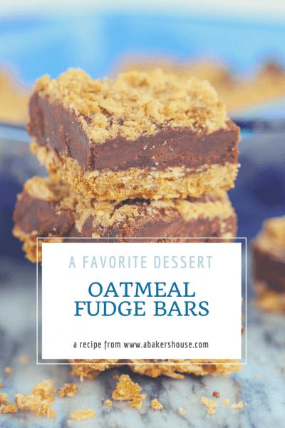 Stack of oatmeal fudge bars