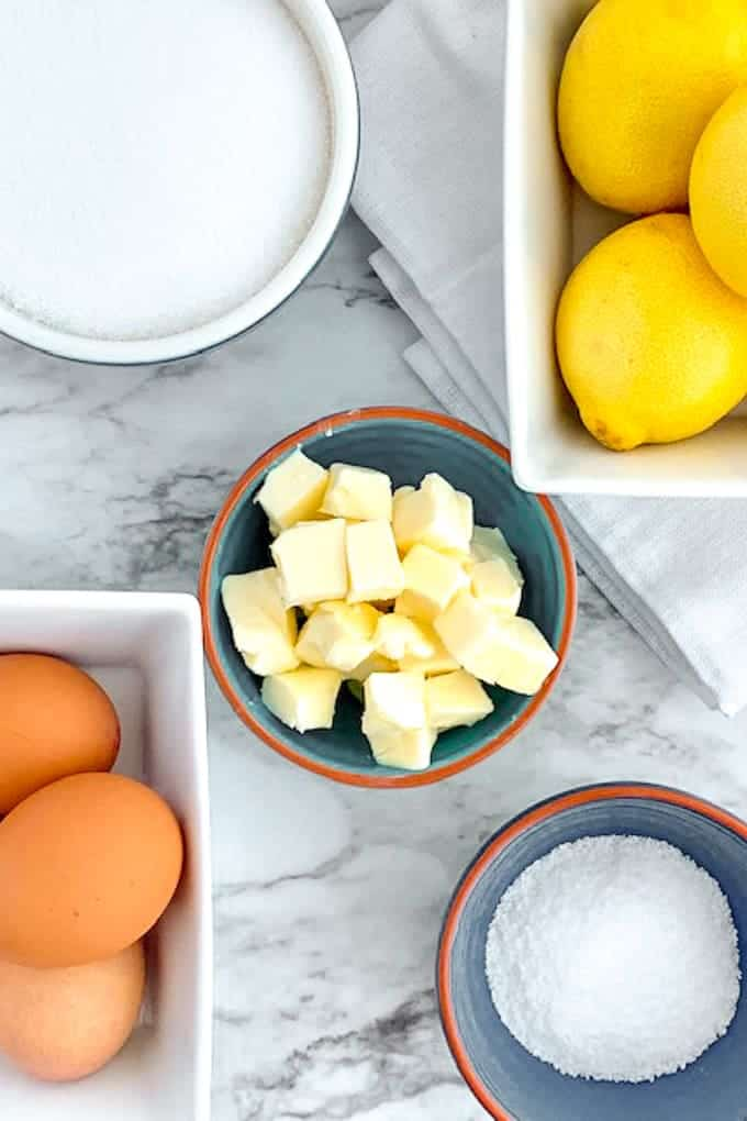 Ingredients of butter, sugar, lemons for lemon curd made in the Vitamix