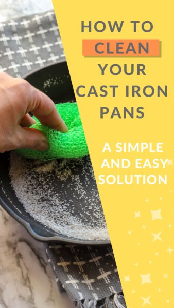 pinterest image how to clean cast iron simple method