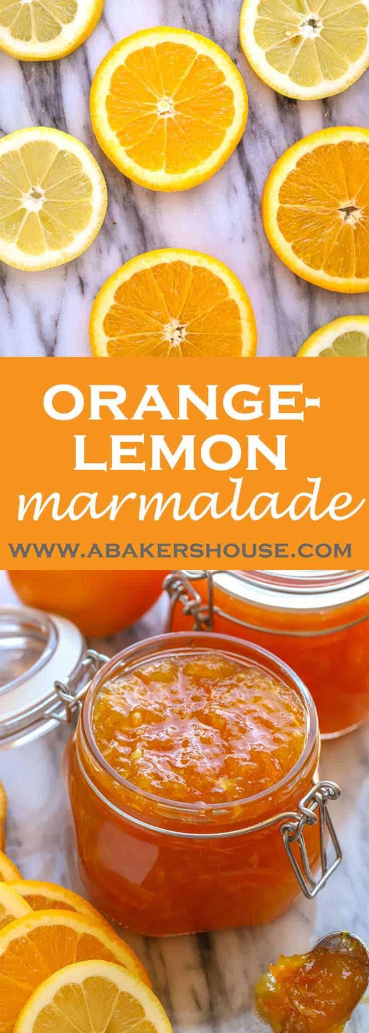 Bright and citrus-filled, homemade orange lemon marmalade will brighten any winter's morning. With a bit of preparation now, you can easily make and preserve this marmalade then enjoy it in the months to come.  #abakershouse #marmalade #preserving #canning #orange #lemon #citrus