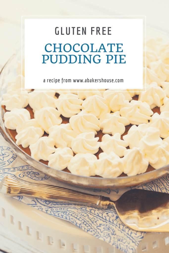 Pin for chocolate pudding pie with glass pie plate and pie serving on blue and white napkin