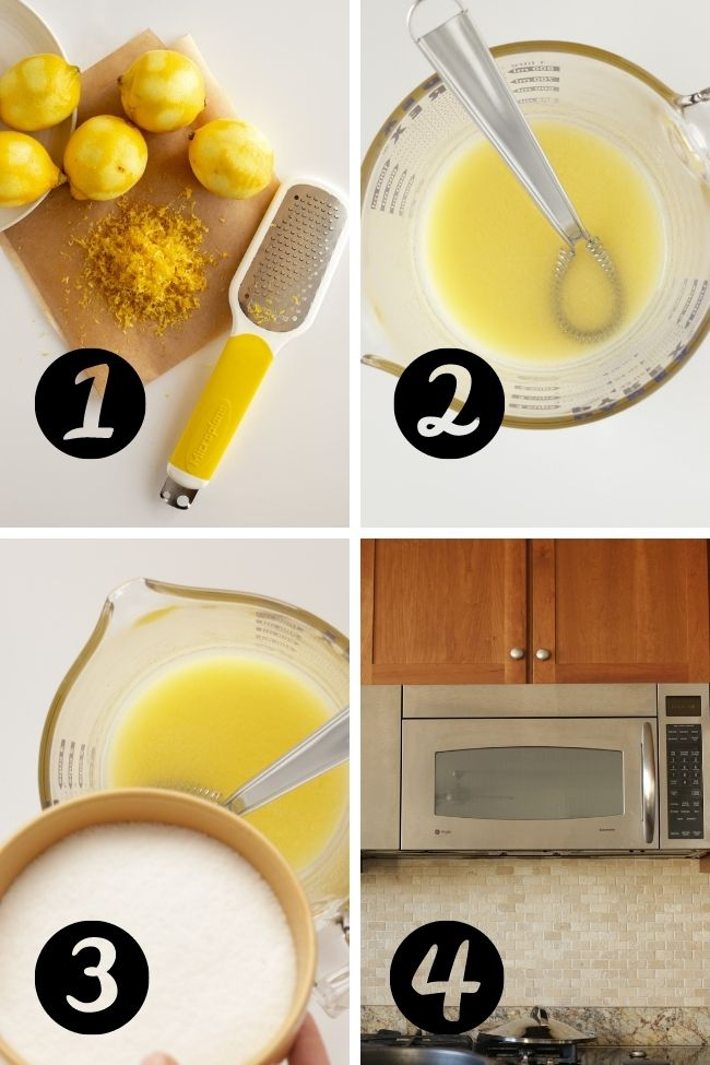 photos showing four steps to make lemon curd in microwave