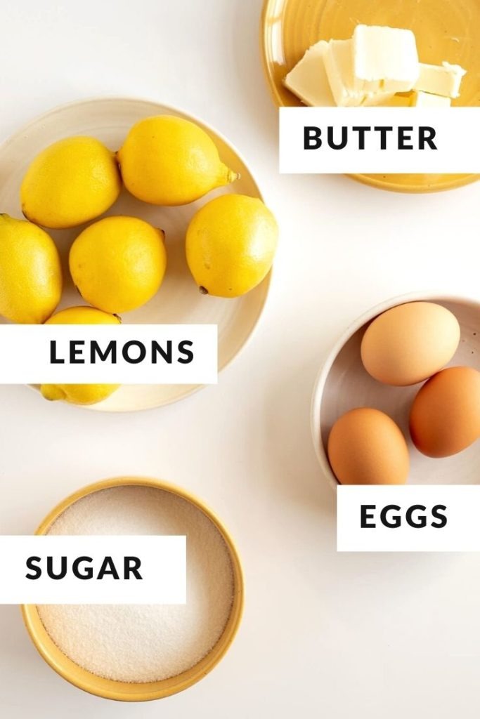 ingredients of lemons, butter, sugar, and eggs with text labels