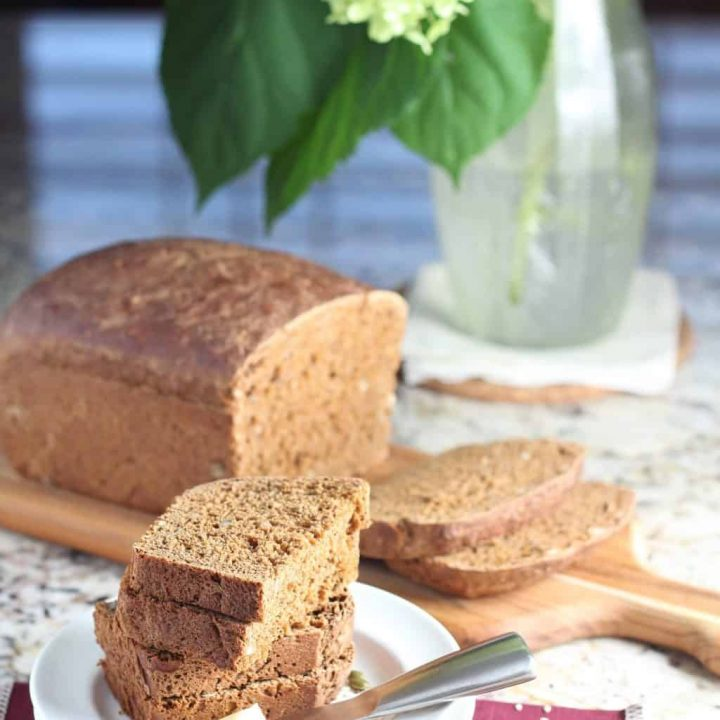 Molasses seed bread homemade bread recipe on cutting board