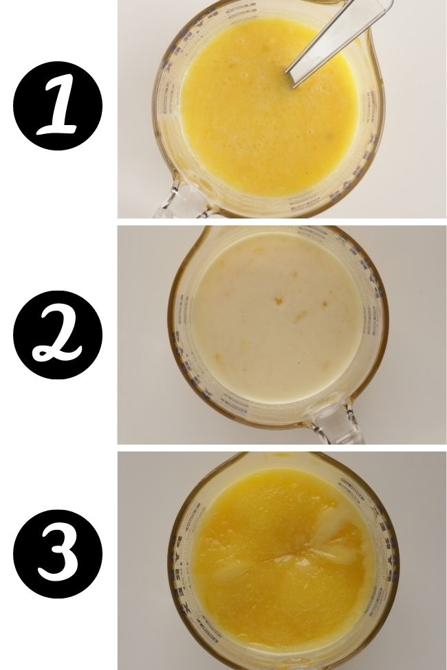 three photos showing lemon curd cooked for one, two and three minutes