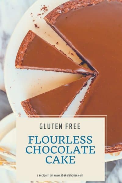 Pin Photo for Gluten free chocolate cake with text overlay
