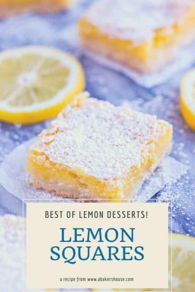 Lemon Bar dessert with powdered sugar topping