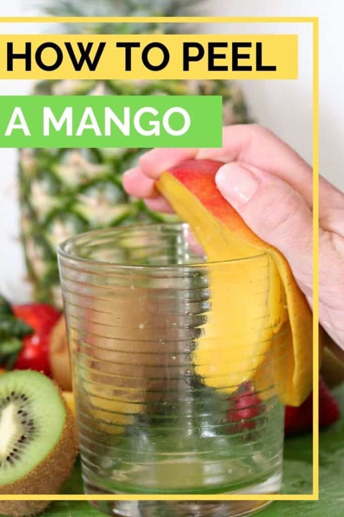 Pinterest image how to peel a mango with ease