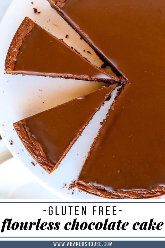 Pin for slices of flourless chocolate cake gluten free
