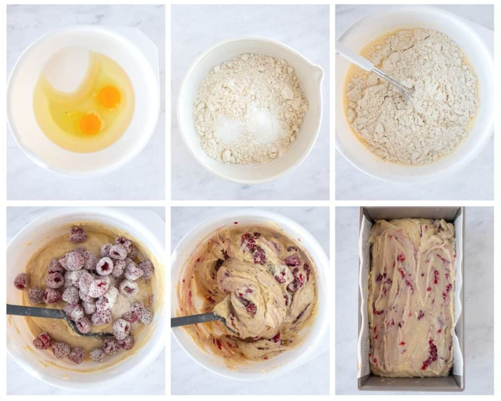 Steps in 6 photos how to make raspberry quick bread