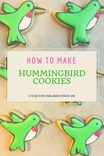 Pin for Hummingbird Cookies with six cookies and text title overlay