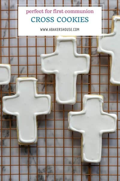 Basic cross cookies decorated white royal icing with text overly title