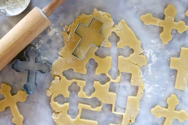 Cross cookie dough with cross cookie cutters