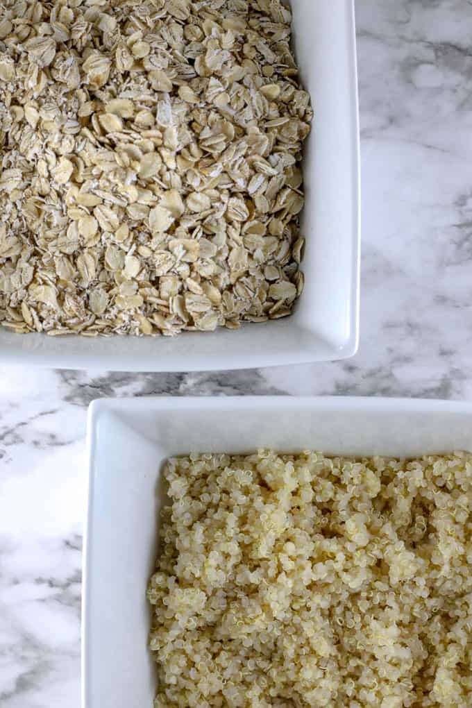 Two bowls of oats and quinoa ingredients for homemade aussie bites