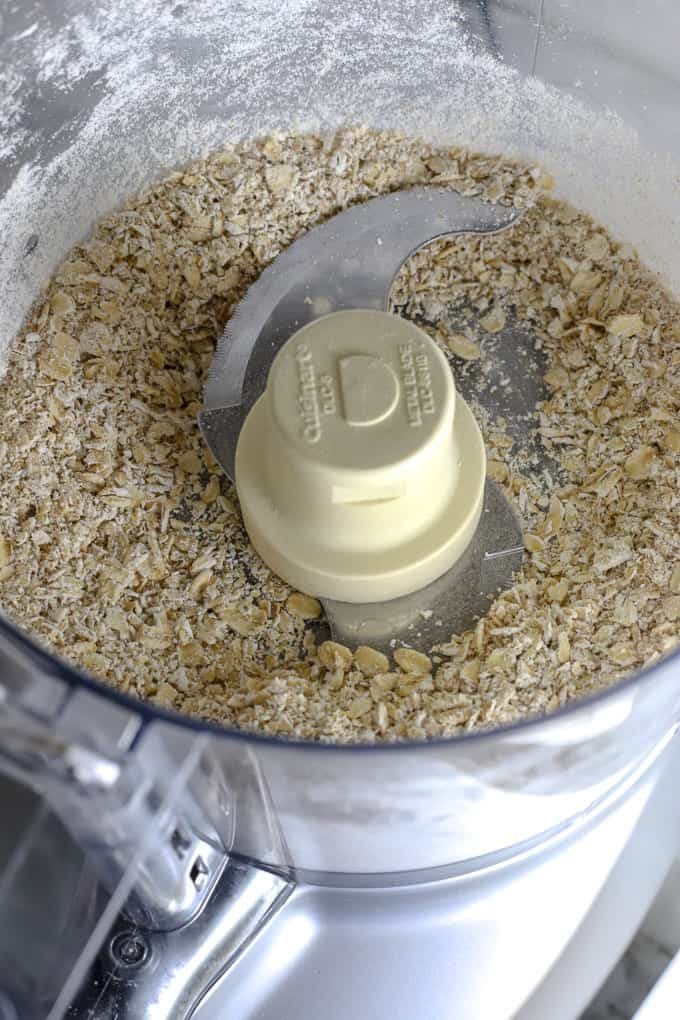Oats in food processor for gluten free aussie bites