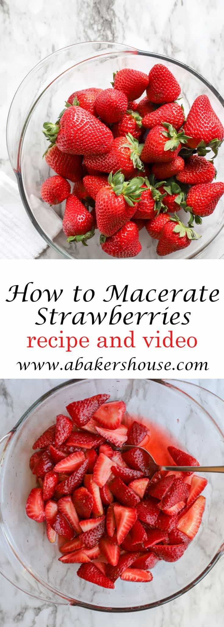 Learning how to make macerated strawberries barely requires a recipe. You simply add sugar (or alcohol) and the magic ingredient of time. Making macerated strawberries is a technique that you can use with any type of berry. Use this juicy goodness to top pancakes, shortcakes, ice cream, pound cake, or trifle. #strawberries #easydessert #summerdessert #redwhiteandblue #fruitdessert #abakershouse
