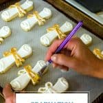 Adding gold luster to graduation cookies