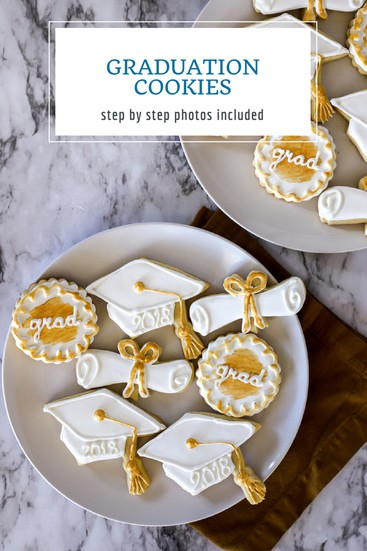 Whether you need graduation cookies for a college graduation, a high school graduation, or even a kindergarten celebration, these sugar cookies decorated with royal icing are perfect for your special occasion. Graduation caps, diplomas, and decorative cookies in white with gold lustre or use your school colors! #graduation #commencement #abakershouse #sugarcookies #celebration #royalicing #gold #goldluster #goldlustre #party