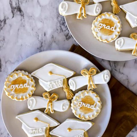 Graduation Cookies sugar cookies with royal icing in gold