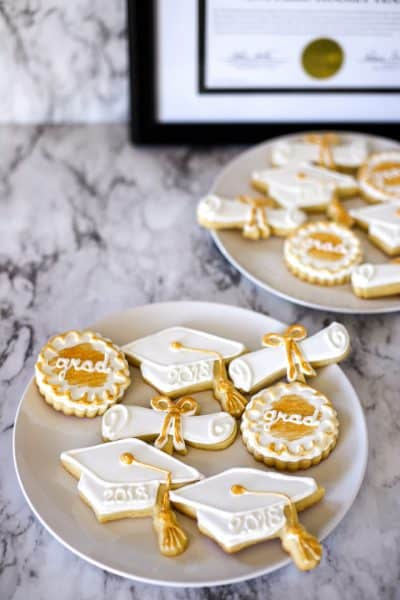 Decorated sugar cookies with royal icing for graduation cookies