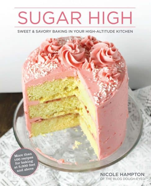 Sugar High cookbook title page with pink cake on front