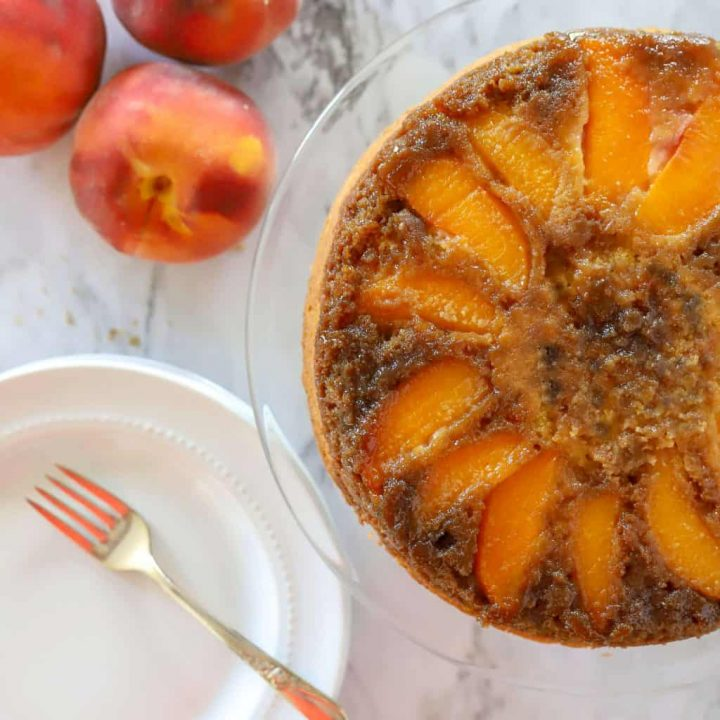 Gluten free upside down peach cake