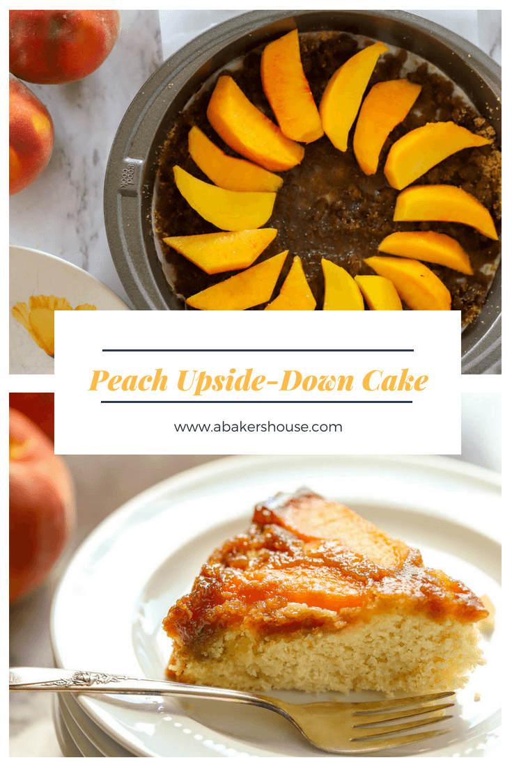 Celebrate summer's bounty of peaches with this upside-down peach cake recipe. The butter and brown sugar create a magical caramel-like topping. You will want to make upside-down everything after trying this easy cake recipe! #peaches #palisadepeaches #upsidedown #easyrecipe #summer #highaltitide #baking #abakershouse #sugarhigh #glutenfree