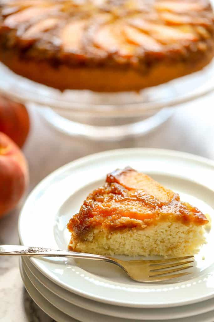 Slice of peach upside down cake gluten free