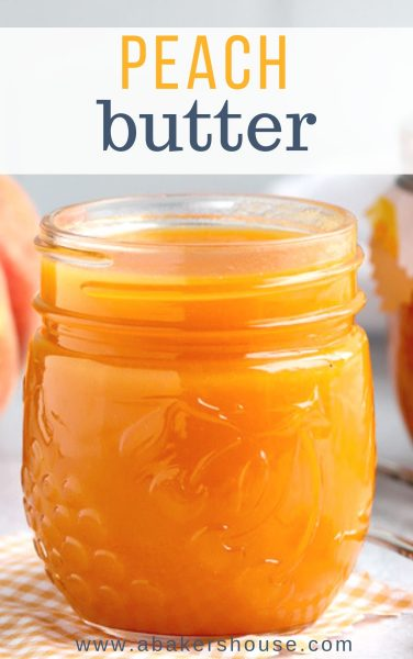 Pinterest image for peach butter in mason jar close up photo