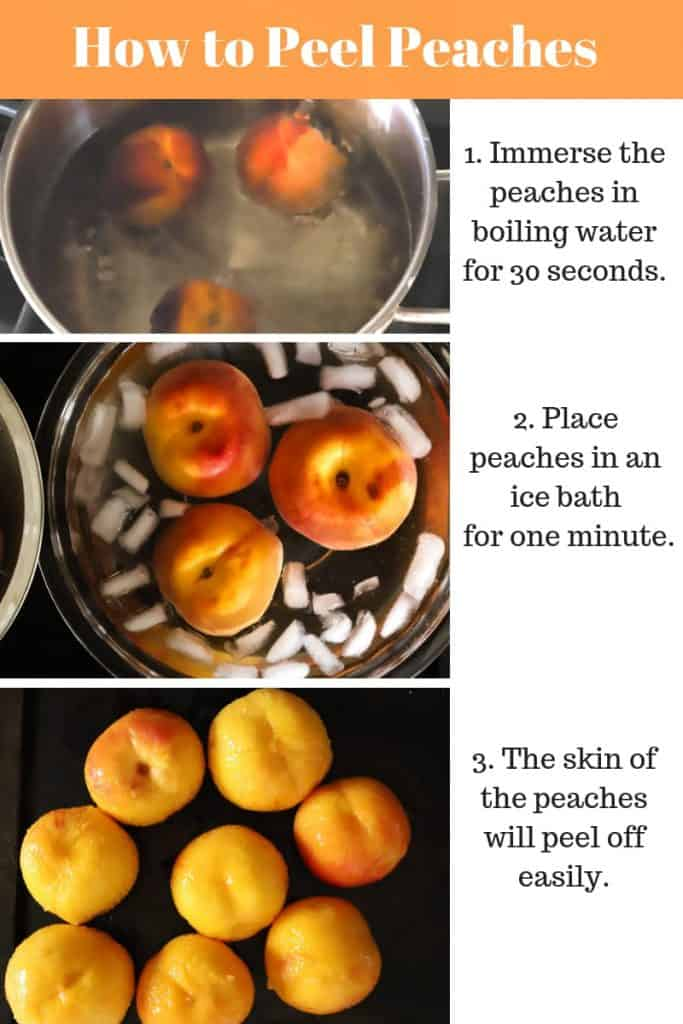 Steps in photos showing how to peel peaches in boiling water.
