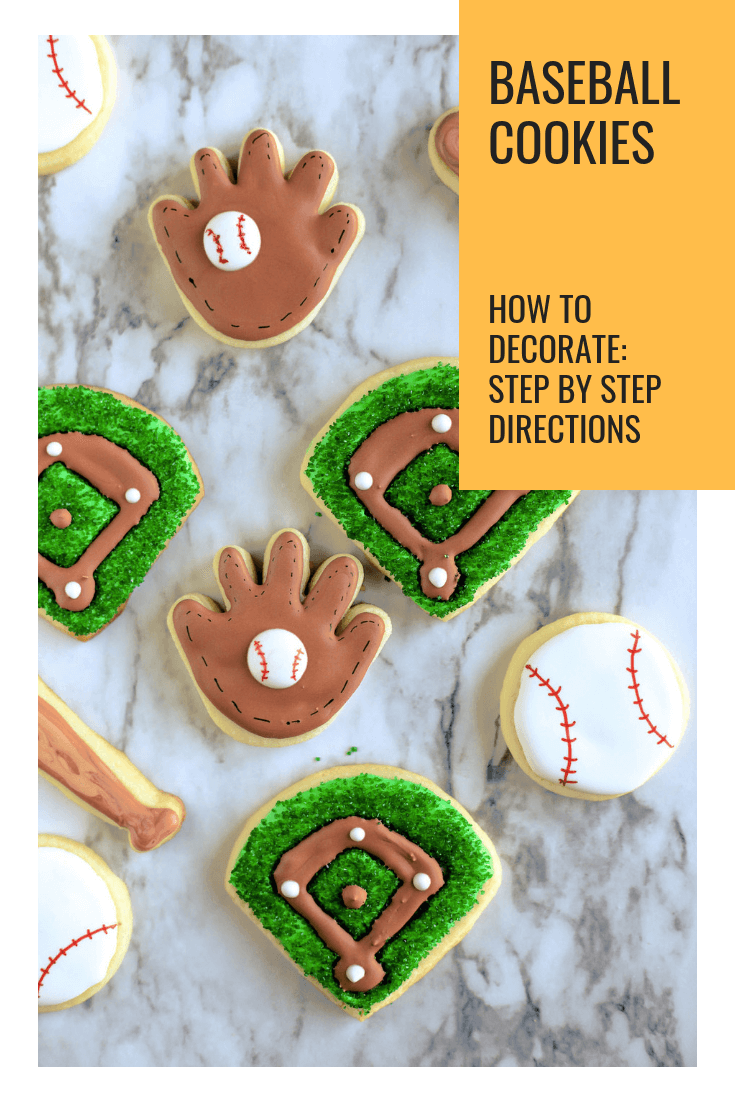 Baseball cookies are a playful way to cheer on your favorite team. Whether it is for little league or the major leagues, these baseball cookies in the shapes of balls, baseball gloves, baseball bats, and baseball diamonds will surely bring home the win! #sugarcookies #royalicing #sprinkles #baseball #gloves #bats #diamond #baseballparty #abakershouse