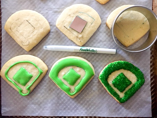 How to steps for decorating baseball diamond cookies with royal icing and sprinkles