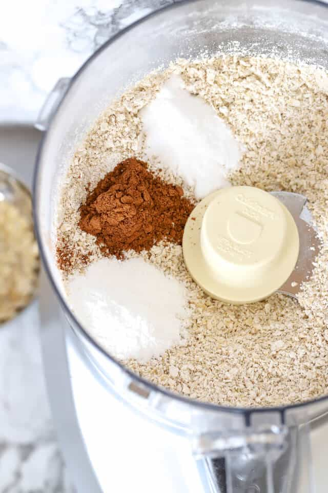 Dry ingredients for gluten free pumpkin muffins in the food processor