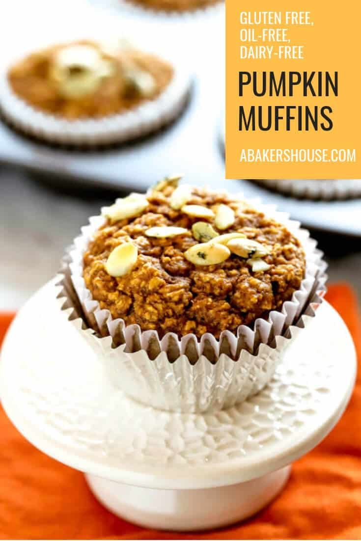 This recipe for healthy pumpkin muffins provides a breakfast option is gluten free, refined flour free, oil free, and can be made dairy free too. Pumpkin puree and pumpkin pie spice make these muffins a perfect choice as the fall season gets into full swing. #abakershouse #pumpkin #pumpkinpiespice #healthy #muffins #glutenfree #dairyfree #oilfree