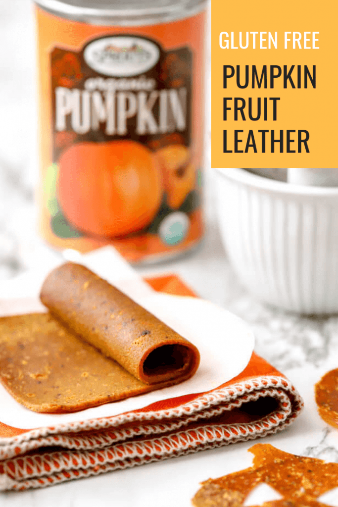 Pinterest photo for gluten free pumpkin fruit leather