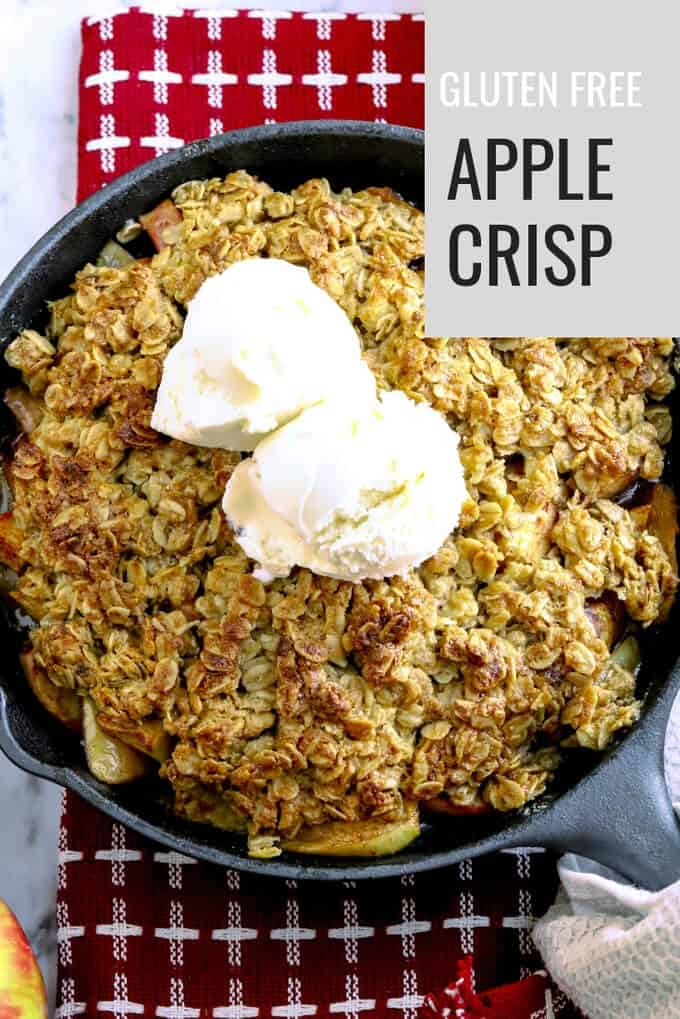 Gluten Free Easy Apple Crisp recipe is perfect for fall entertaining. From cast iron skillet right to the table, this apple crisp will delight your friends and family. Any leftovers? Top with yogurt for a flavorful breakfast. #apples #honeycrisp #crisp #autumn #fall #dessert #bakeforacrowd #onedishdessert #abakershouse