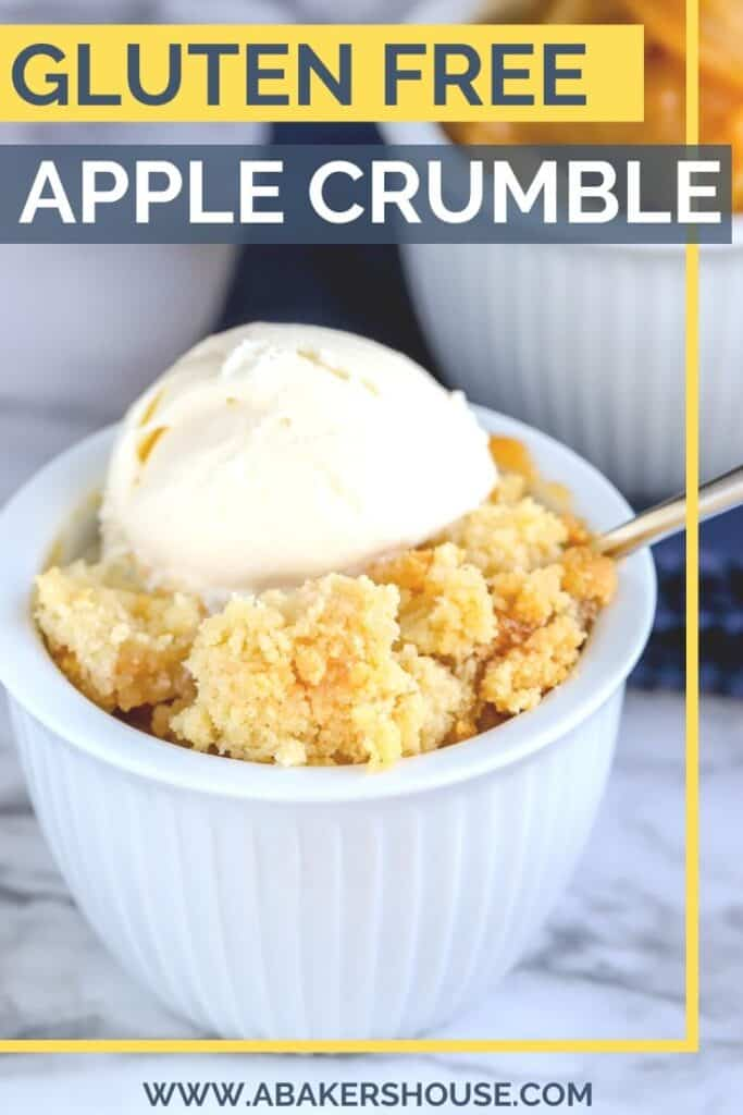Gluten free apple crumble with gluten free crumble topping in white bowl with vanilla ice cream