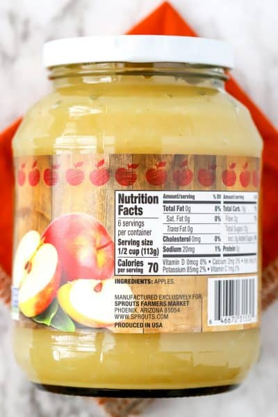 Nutrition label for Sprouts apple sauce